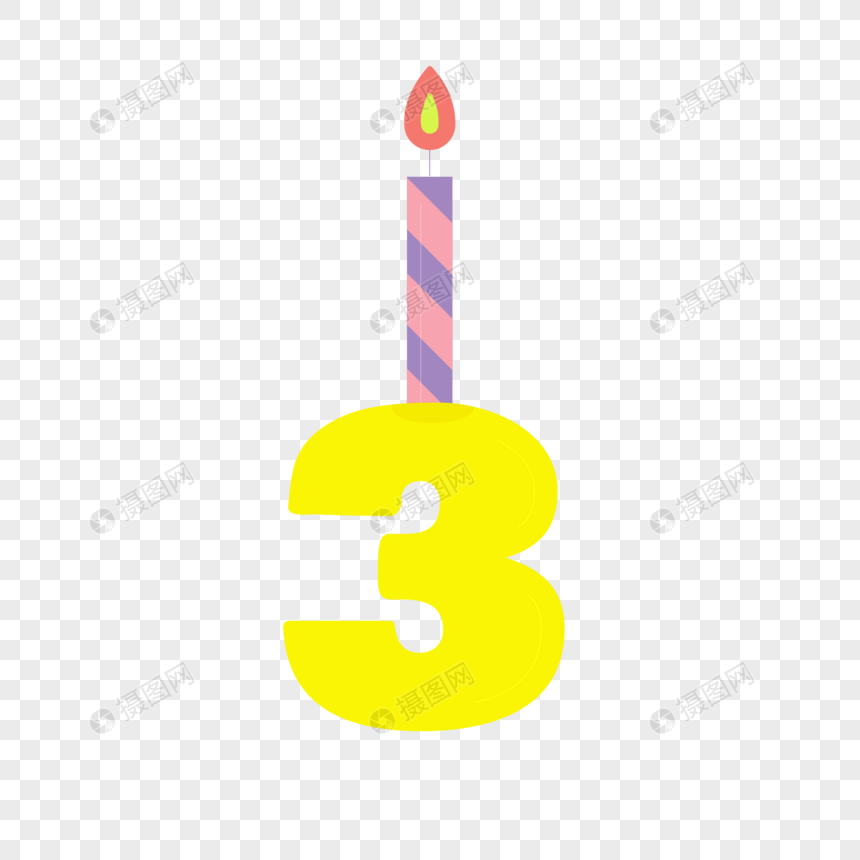 Yellow Number 3 Birthday Candles Png Image Picture Free Download
