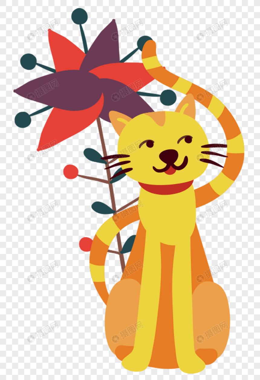 mèo cây hoa màu vàng với hoạt hình