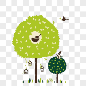 Cartoon Forest Wall Painting Png Image Picture Free Download