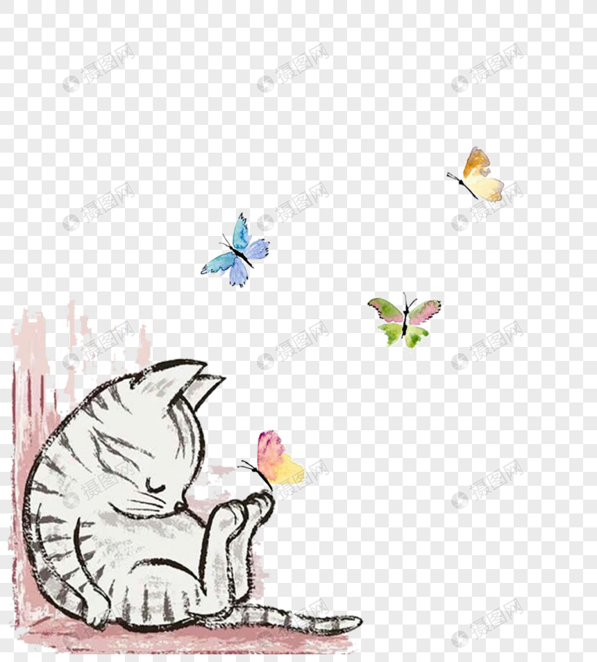 Cartoon Cat Wall Painting Png Image Picture Free Download