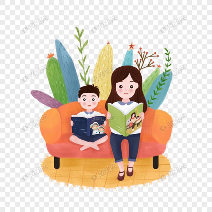 Tangan Kartun Ditarik Membaca Ibu Dan Anak Gambar Unduh Gratisimej