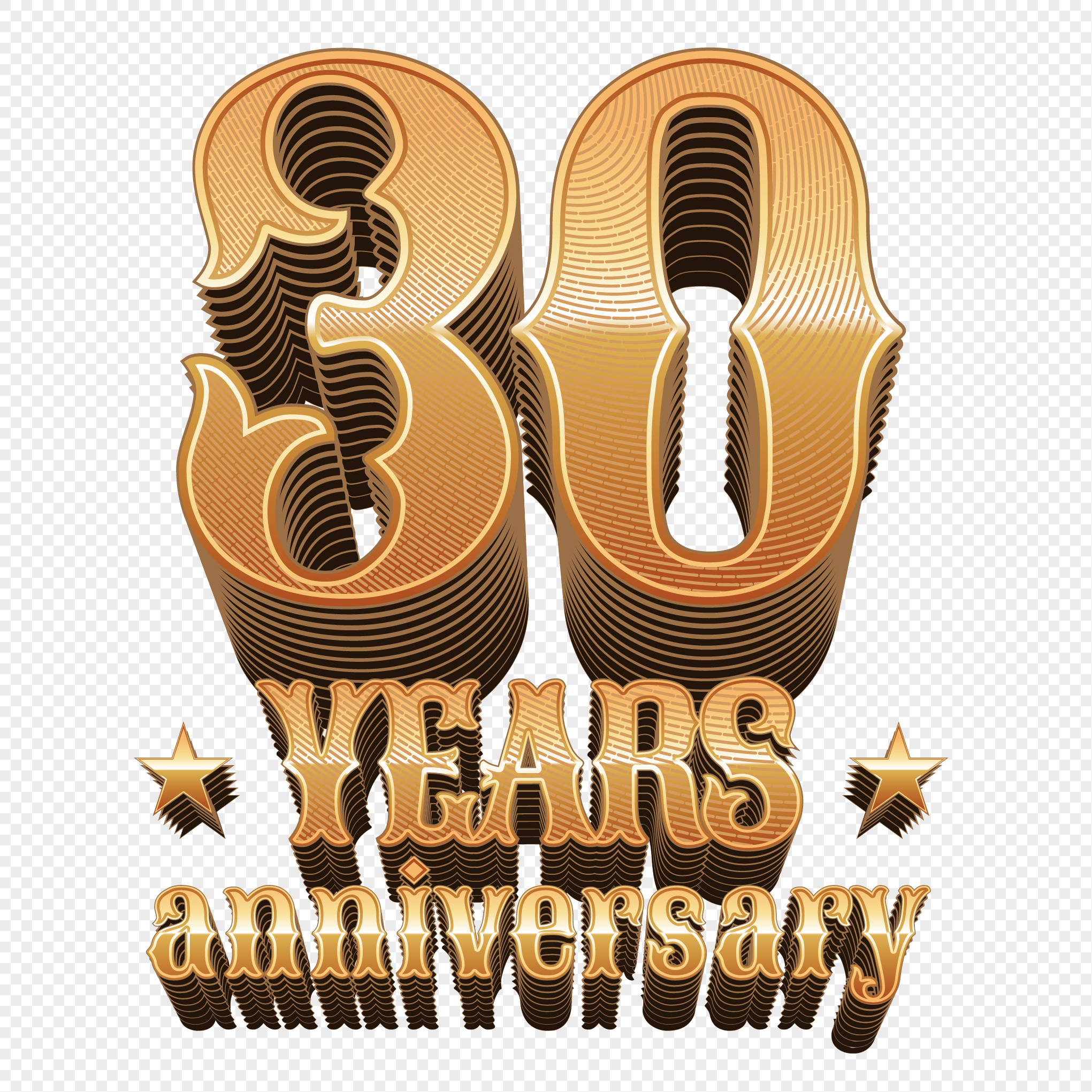 Stereoscopic Gold Number 30th Anniversary Vectorial Elements