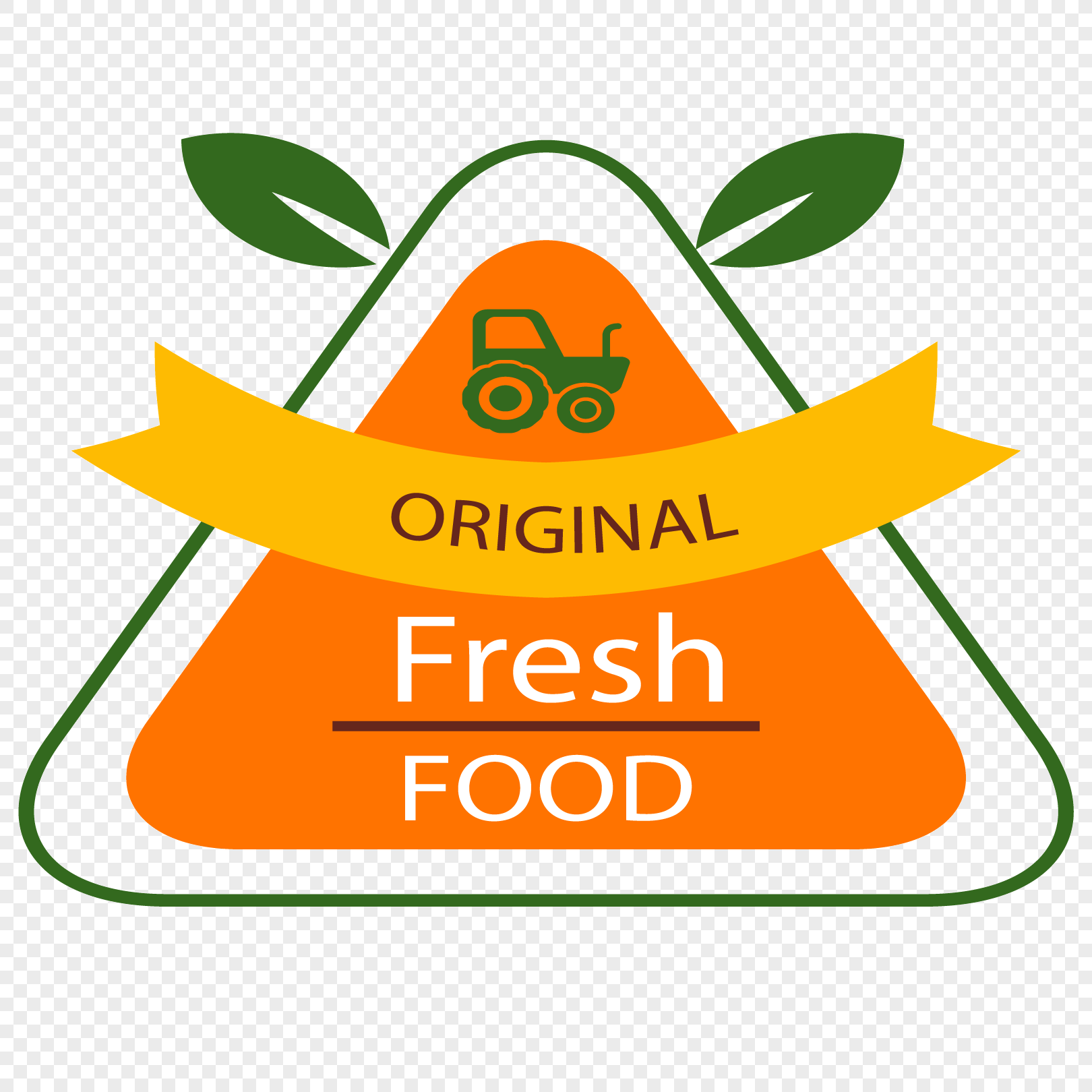 yellow orange round triangle fresh food label png image_picture free