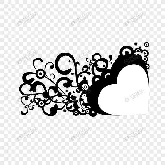 Elementos Decorativos En Forma De Corazón Blanco Y Negro Fronter