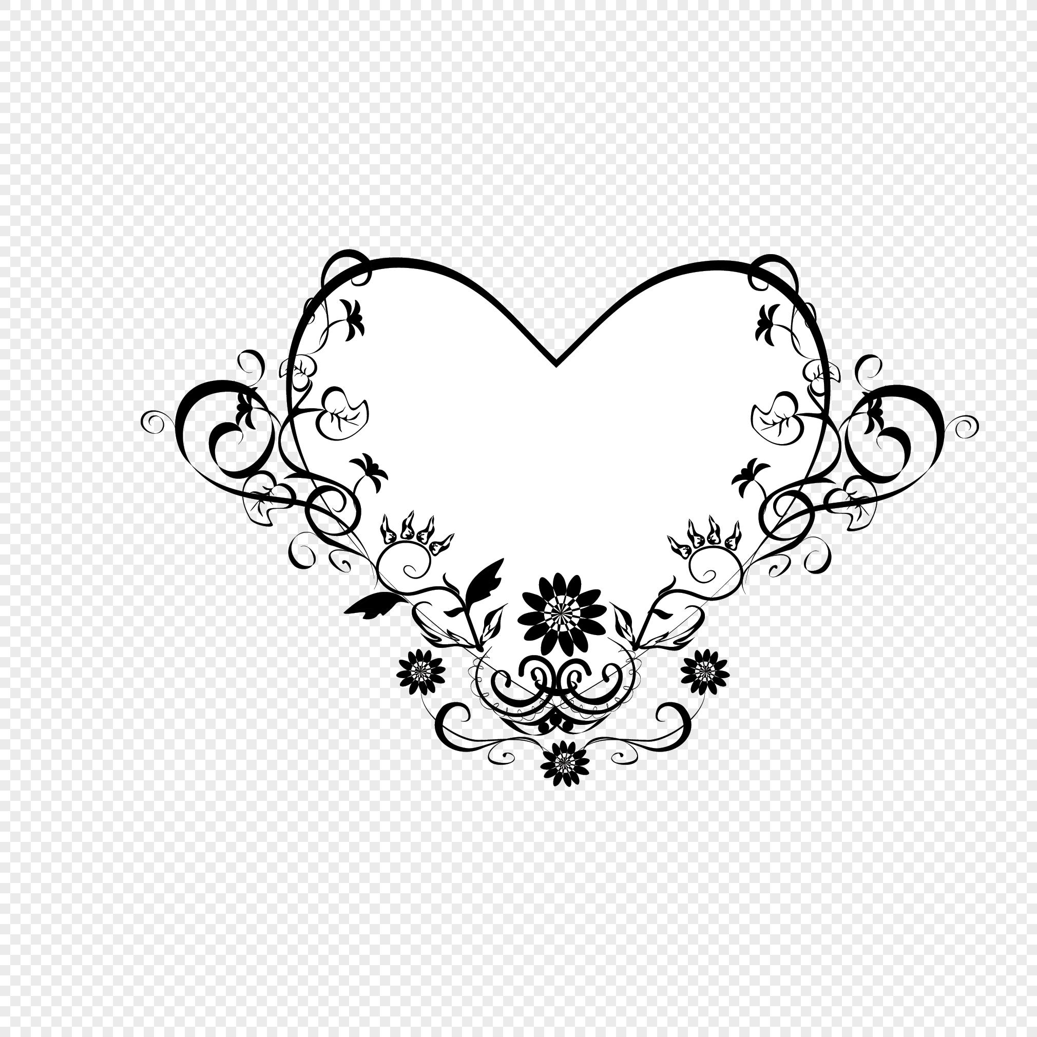 En Forma De Corazón Blanco Y Negro Decorativos Guirnalda Patrón