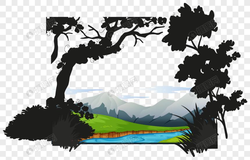 Bahan Kartun Sungai Gunung Vektor Bahan Gambar Unduh Gratisimej