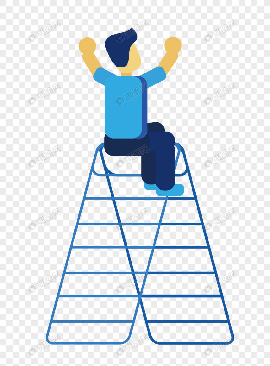 男人坐在梯子上 png