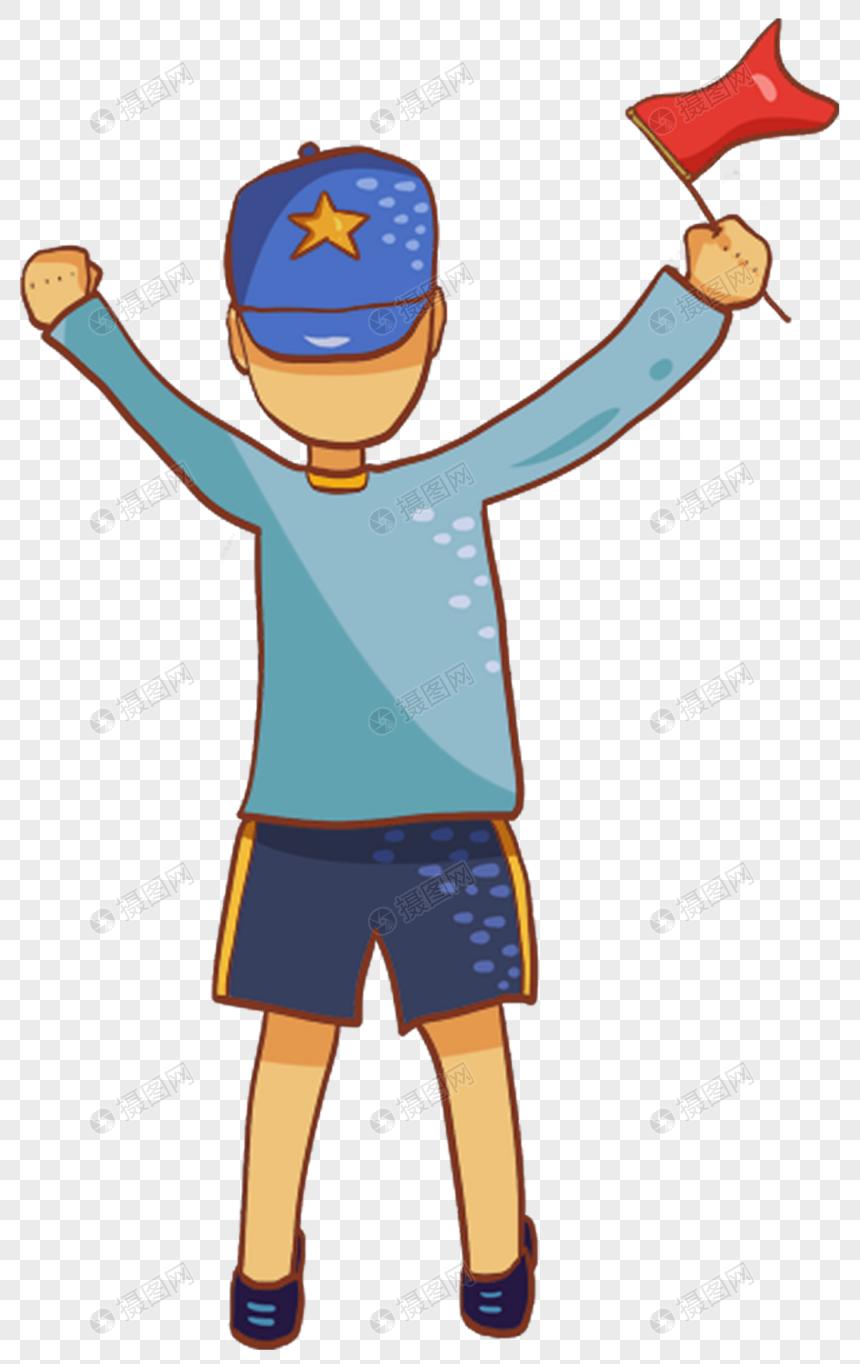 Anak Tiri Biru Memegang Bendera Merah Gambar Unduh Gratisimej