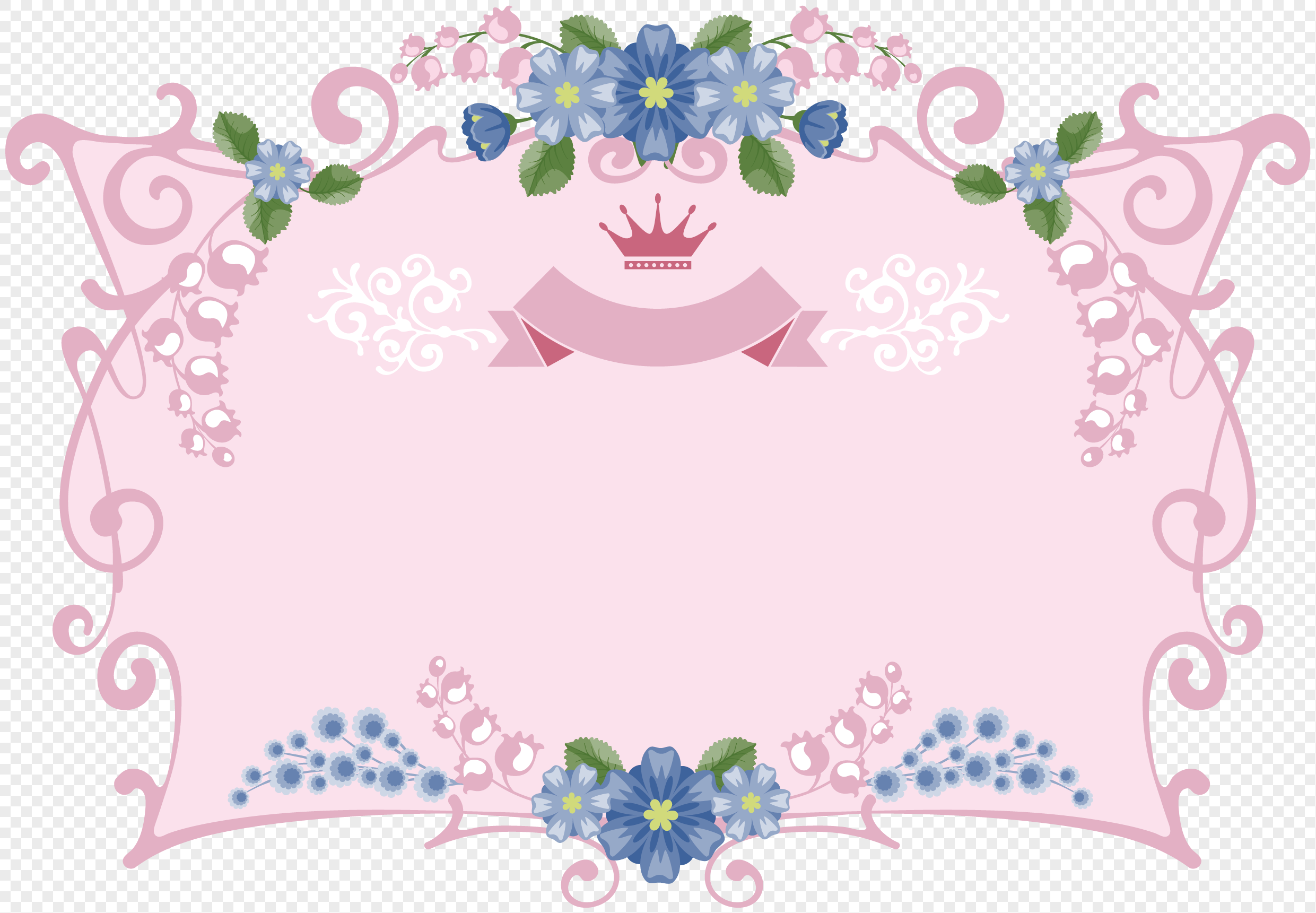 Pink Flowers Decorate Decorative Border Elements Png Imagepicture