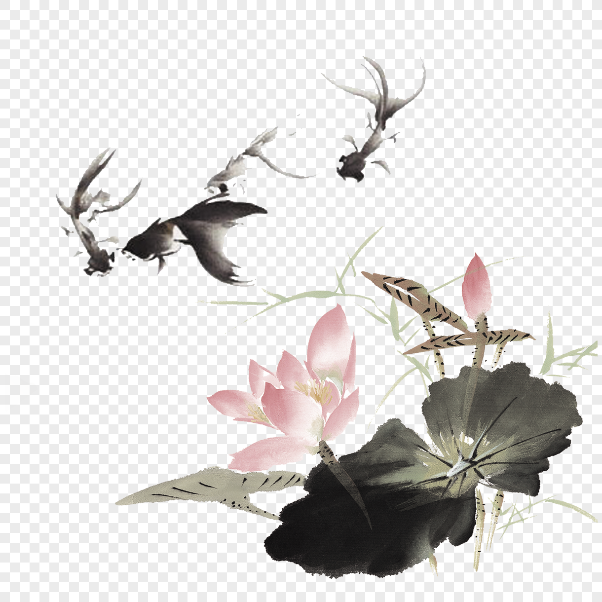 Chinese Feng Shui Ink Lotus Png Imagepicture Free Download