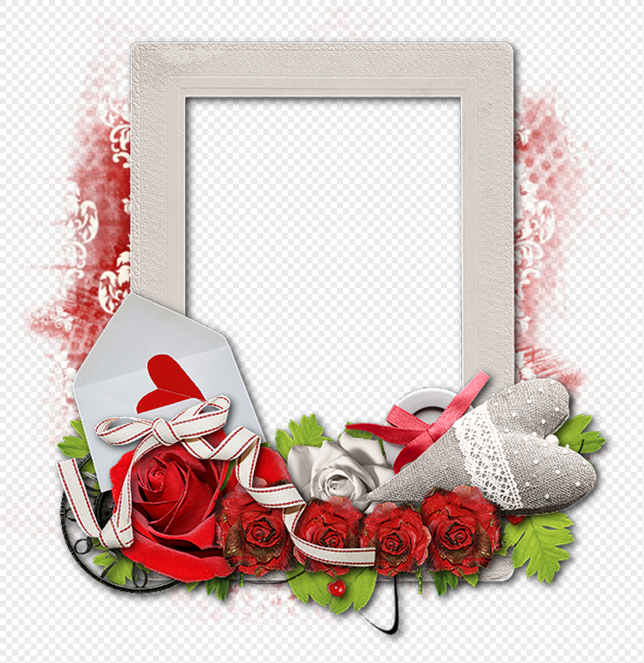 Physical Flowers Valentines Day Theme Photo Frame Png Imagepicture