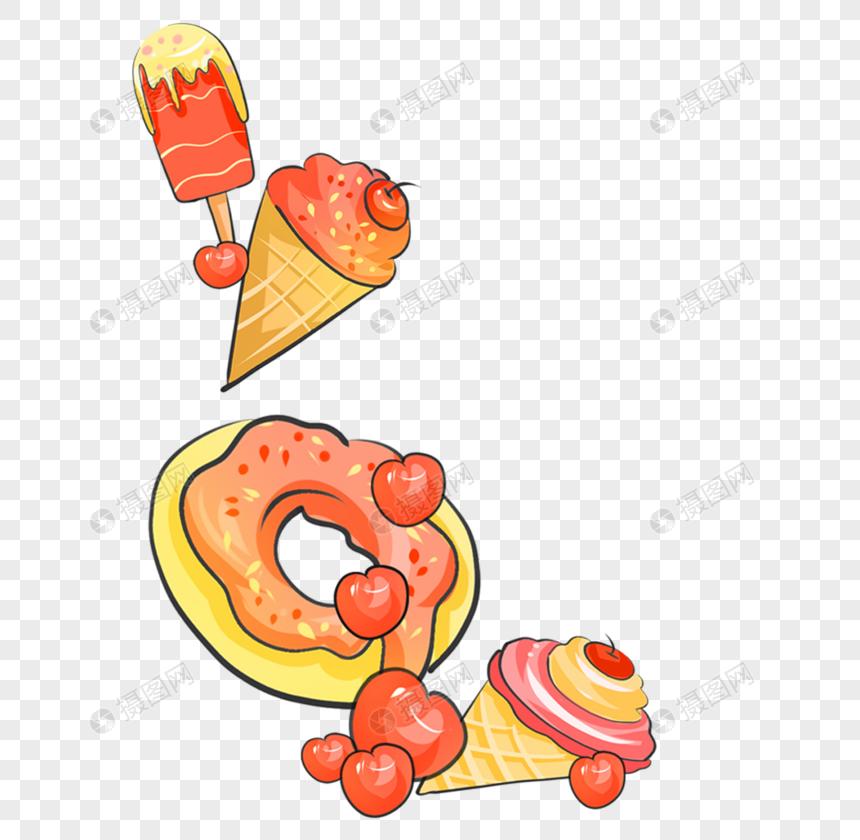 ice cream ice cream bread decoration png