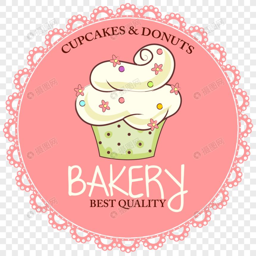 Etiqueta De La Comida Pastel De Dibujos Animados Imagen