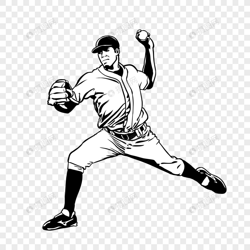 Hand drawn sketch of baseball player character icon elements png