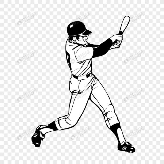 Elemen Atlet Olahraga Sketsa Baseball Yang Digambar Tangan Gambar