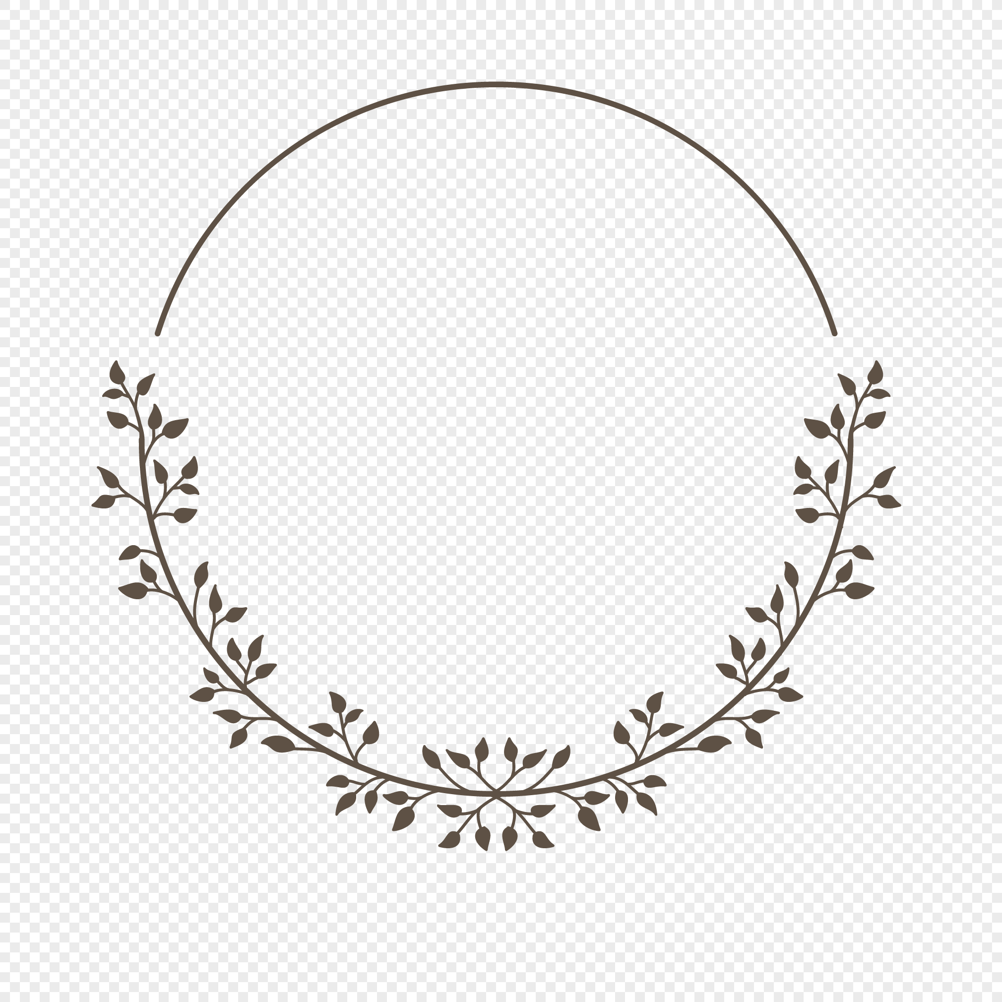Black And White Line Drawing Circular Plant Border Design Materi Png