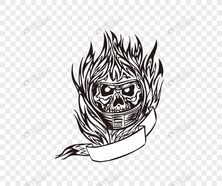 photo de motif de tatouage crâne flamme dessin au trait vecteur