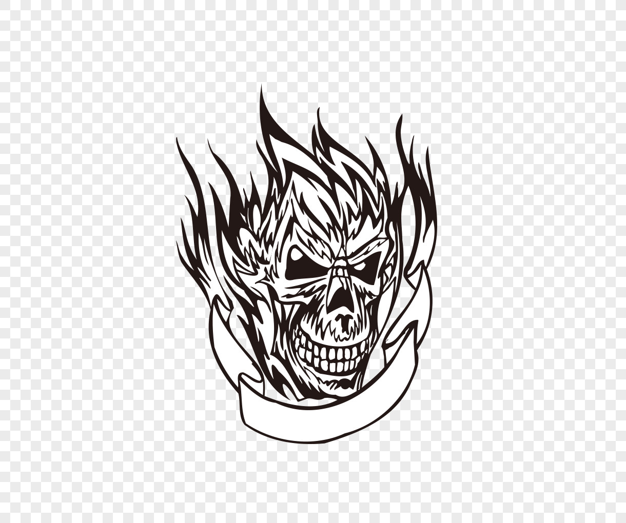 vector black line drawing flame skull tattoo pattern png
