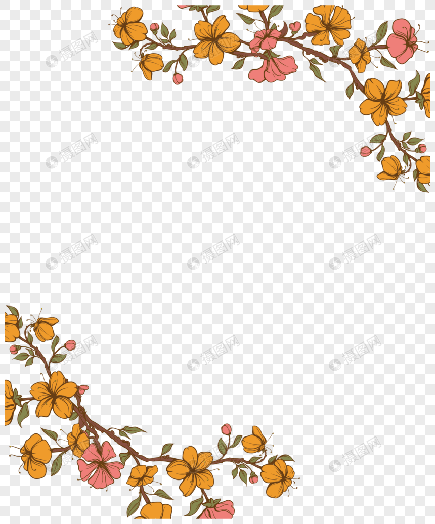 Yellow Floral Border Png Image Picture Free Download