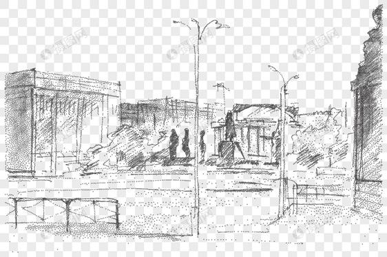 Tangan Sketsa Lukisan Bandar Bangunan Elemen Vektor Gambar Unduh