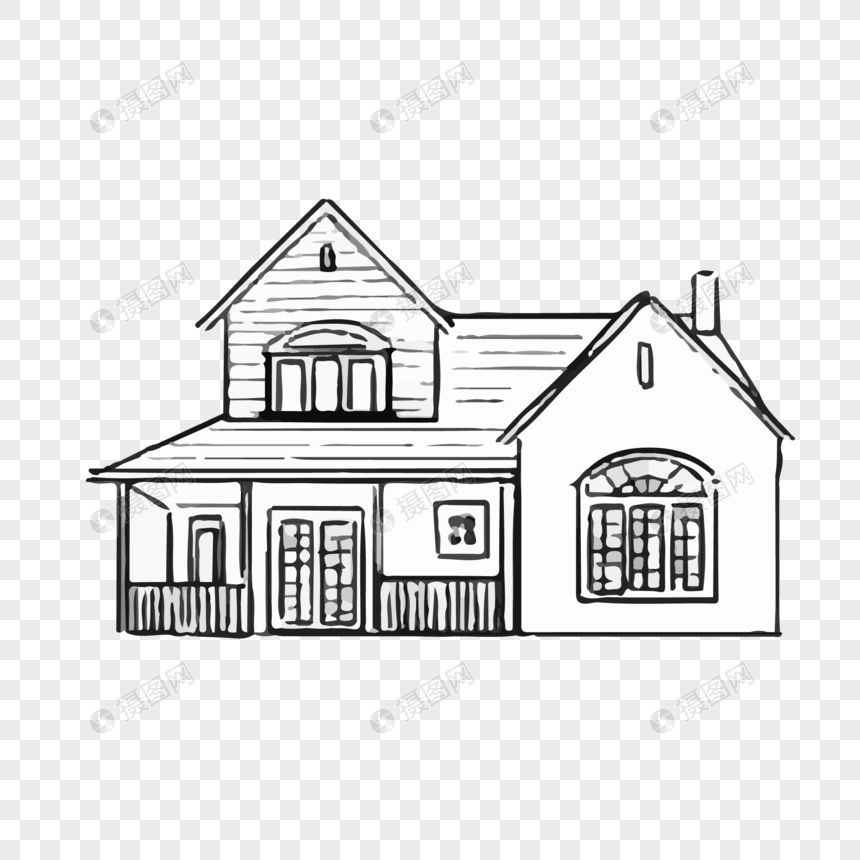 Line Drawing Villa Vector Material Imagepicture Free Download