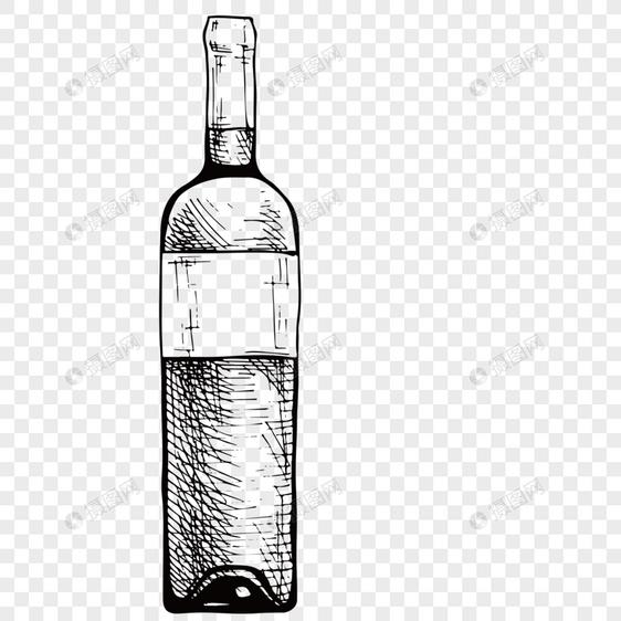 Elemen Elemen Vektor Sketsa Botol Anggur Merah Yang Ditarik Gambar