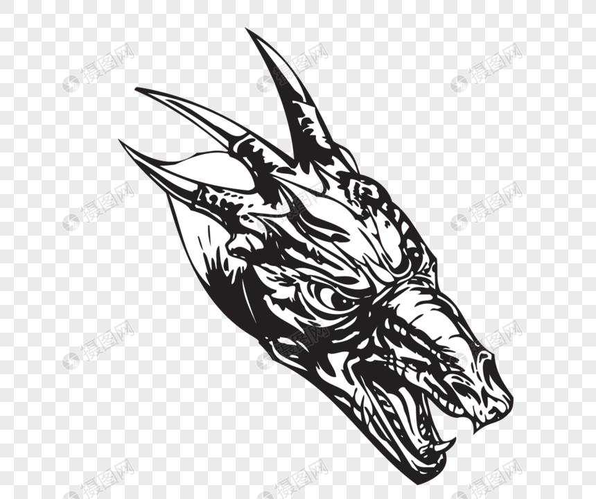 photo de matériau de modèle de tatouage dragon dessin au trait