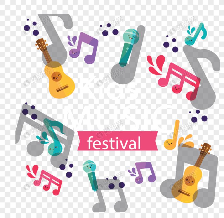 Dibujos Animados De Notas Musicales Para Festival De Música Infa