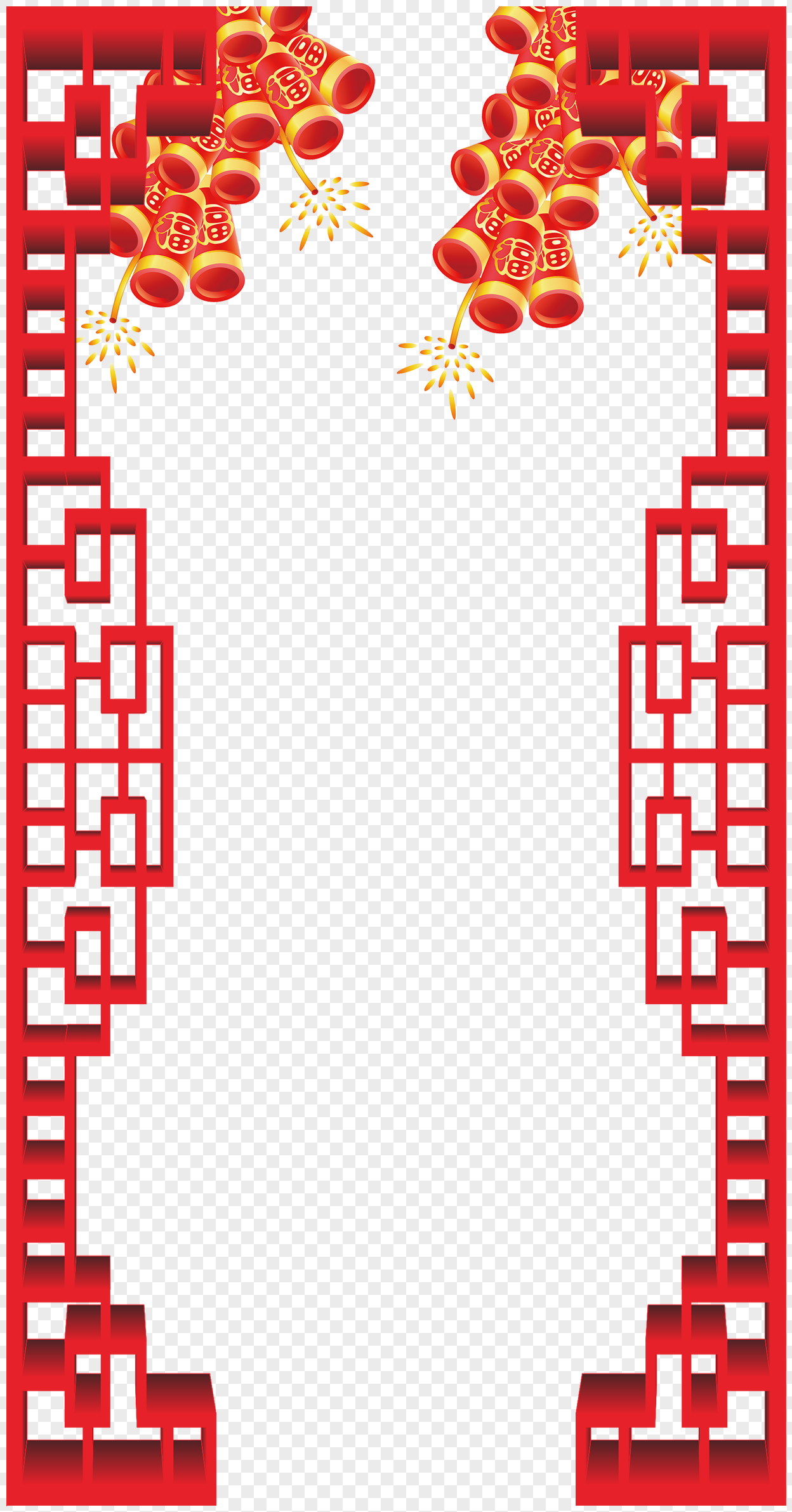 new year firecracker border material