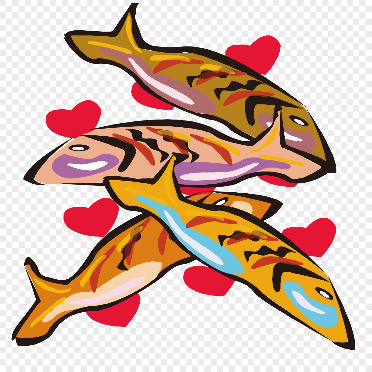 cartoon hand painted fish pattern png image picture free download
