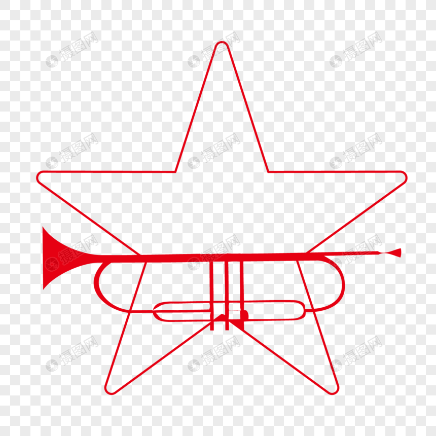 Red line outline pentagram png image_picture free download