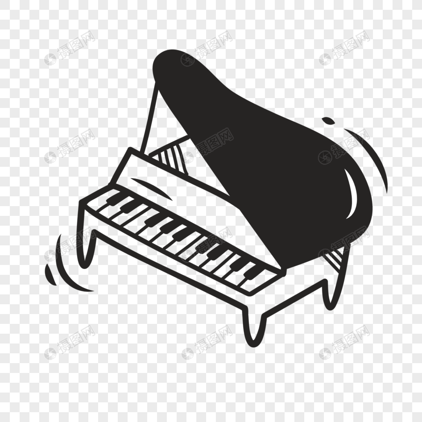 Hand painted graffiti musical instrument piano vector elements png