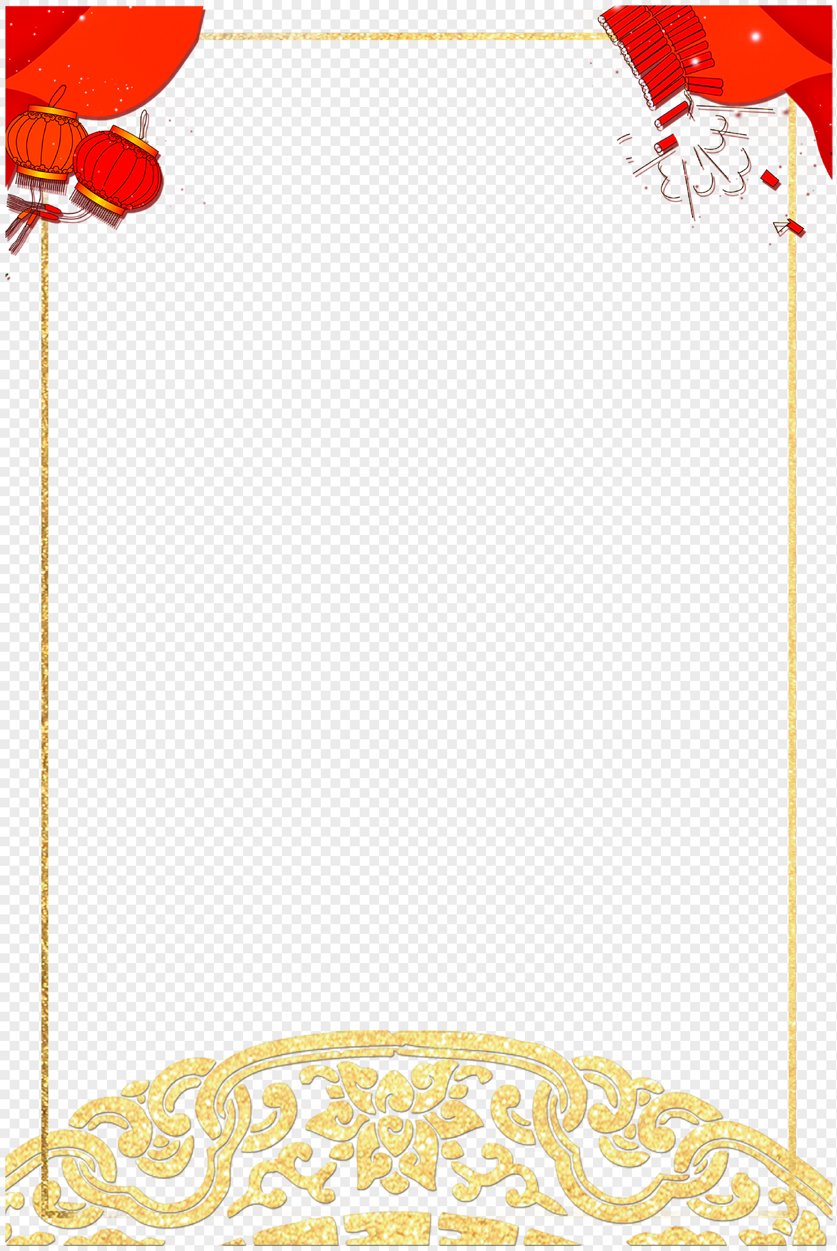 Red New Year Lantern Border Decoration Png Image Picture Free