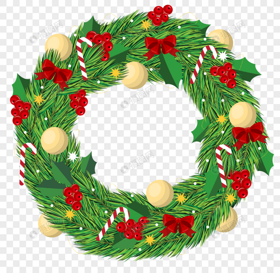 Cartoon Christmas Wreath Border Larawan Numero Ng Graphics