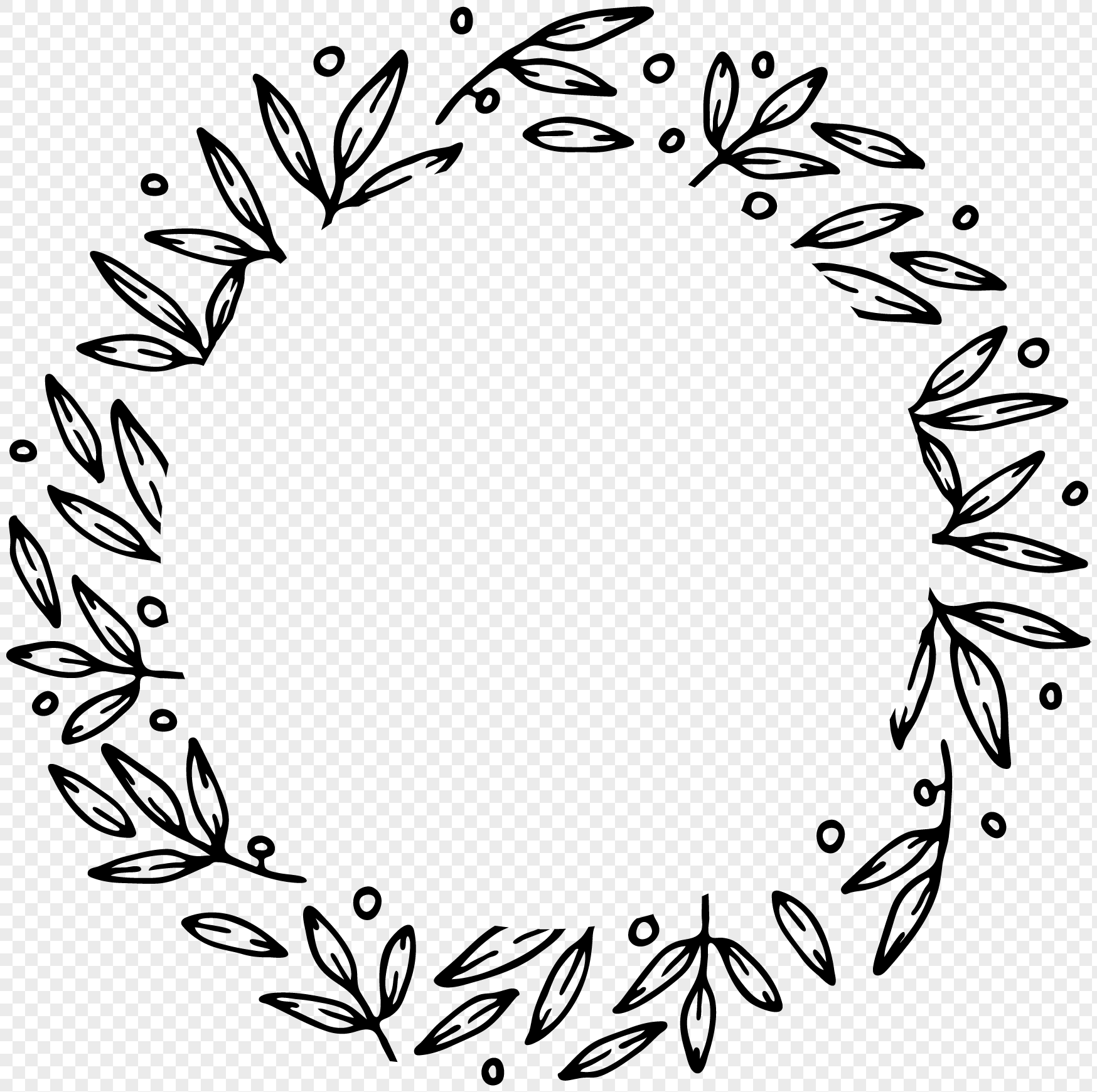 hand drawn black line drawing leaf lace wreath png image picture