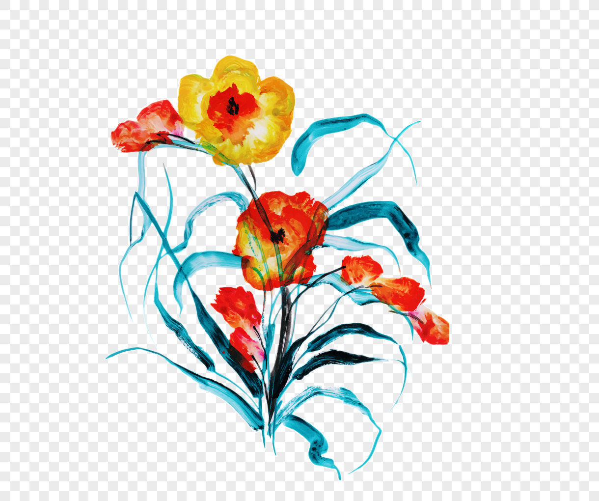 Vector Material For Watercolor Flowers And Plants In Spring Png
