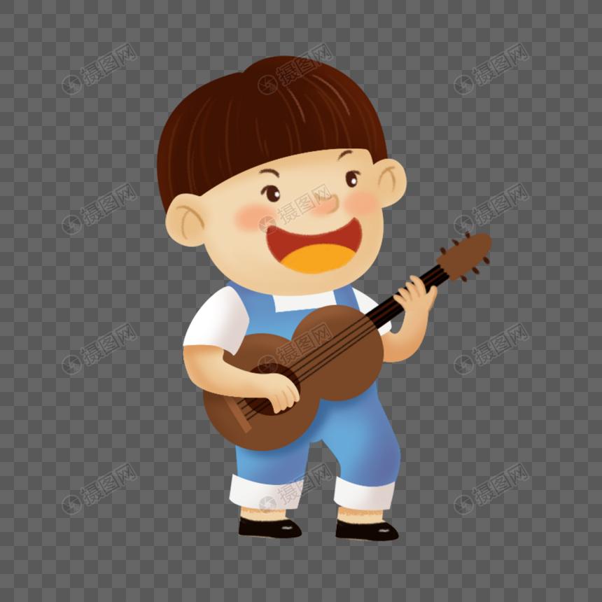 Anak Lelaki Yang Ditarik Tangan Memegang Gitar Gambar Unduh