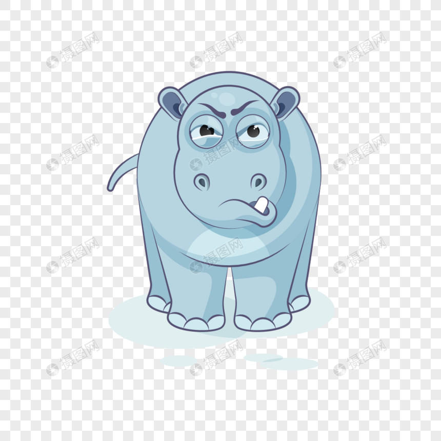 Cute cartoon rhino animal expression pack png image_picture free