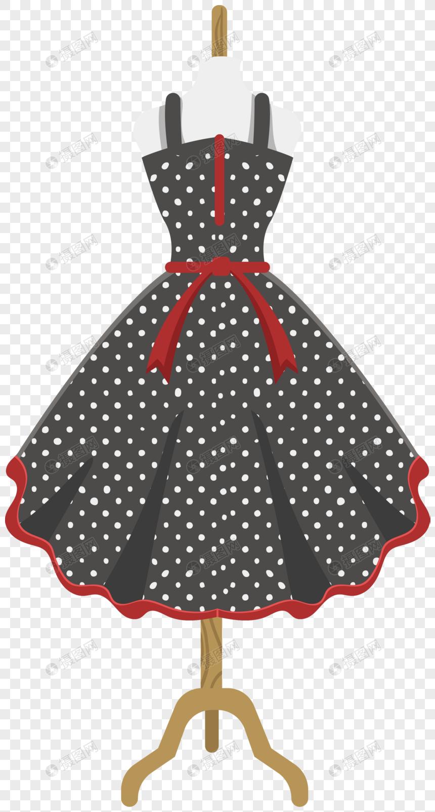 Kartun Hitam Putih Dot Suspender Skirt Element Gambar Unduh