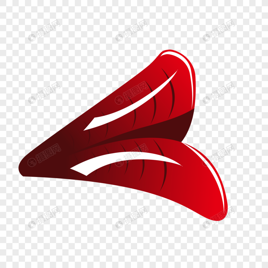 Hand painted red lips lip vector material png image_picture