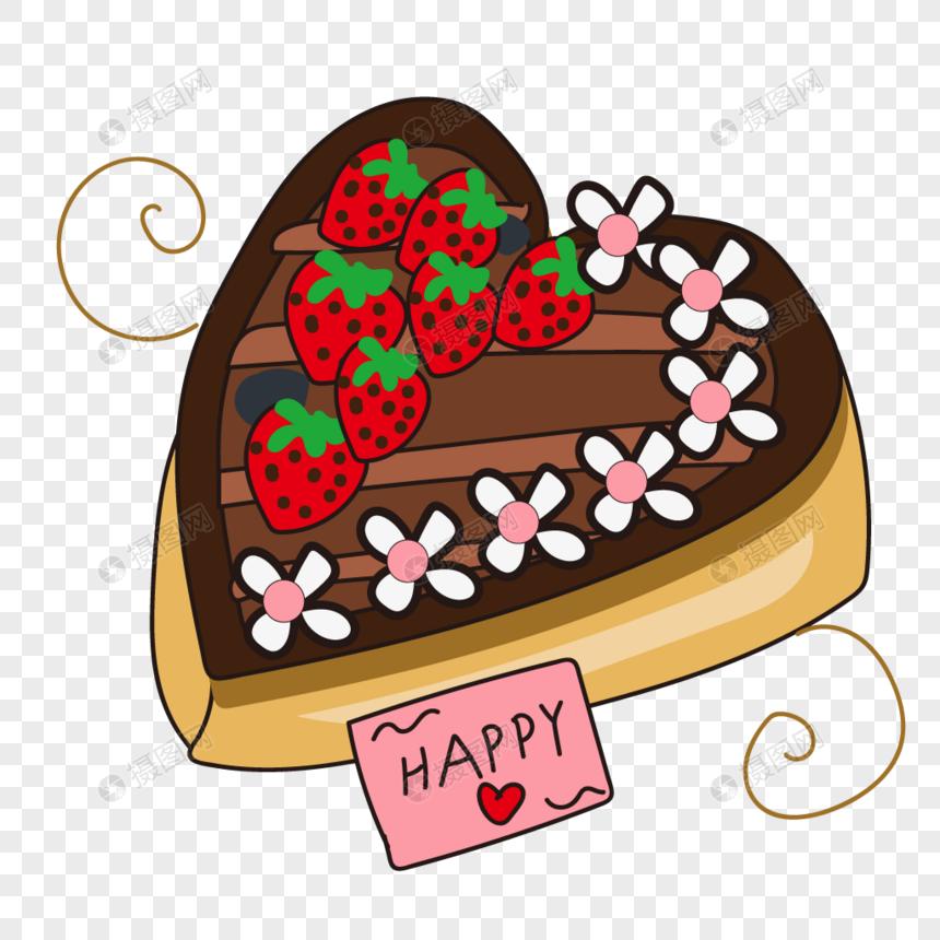 Chocolate Peach Hearts Birthday Cake Delicious Food
