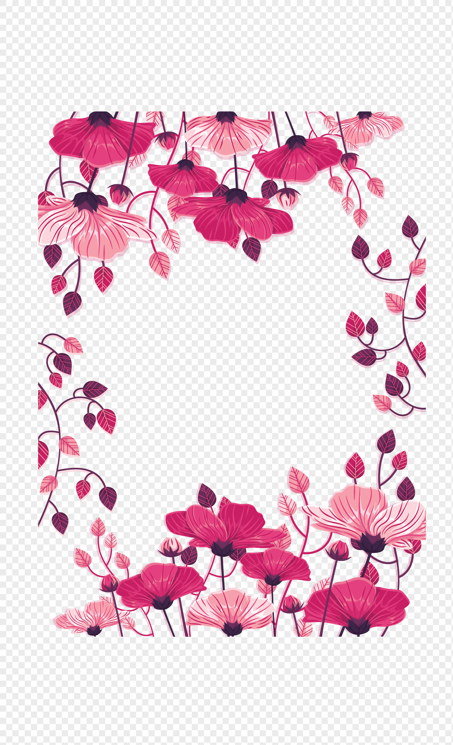 Romantic Pink Flowers Border Png Imagepicture Free Download