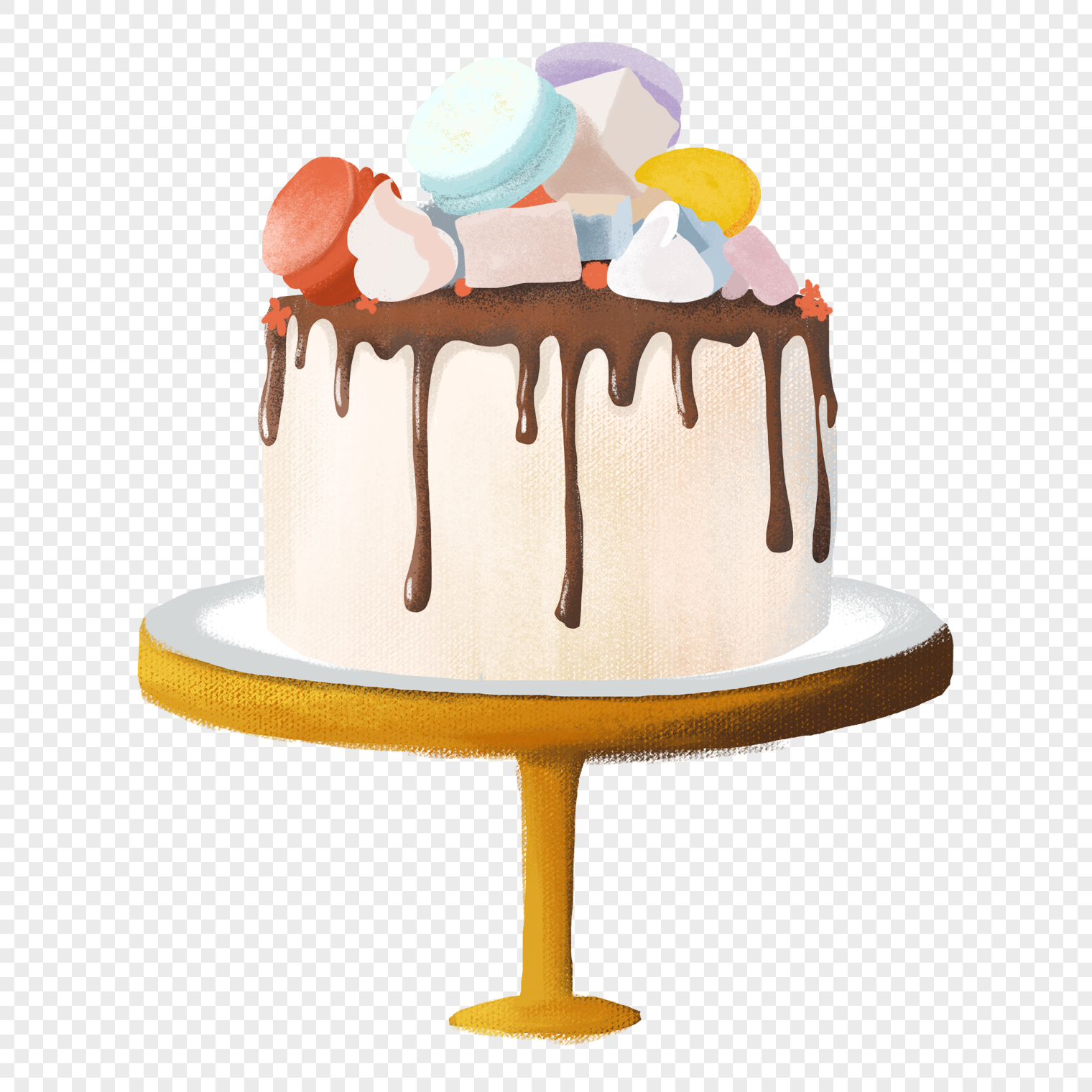 Hand Painted Wedding Cake Png Image Picture Free Download