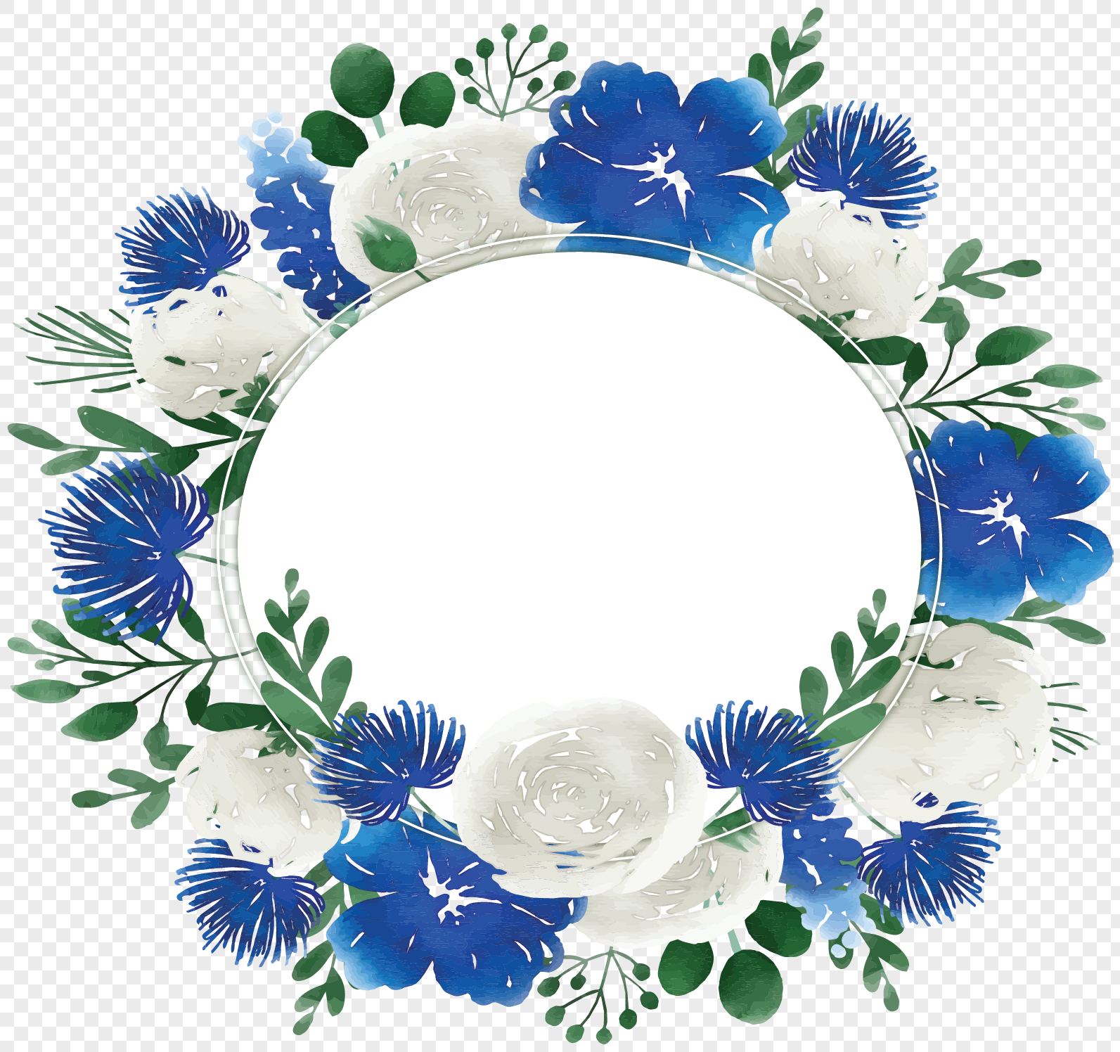 white blue watercolor flowers border png image picture free download