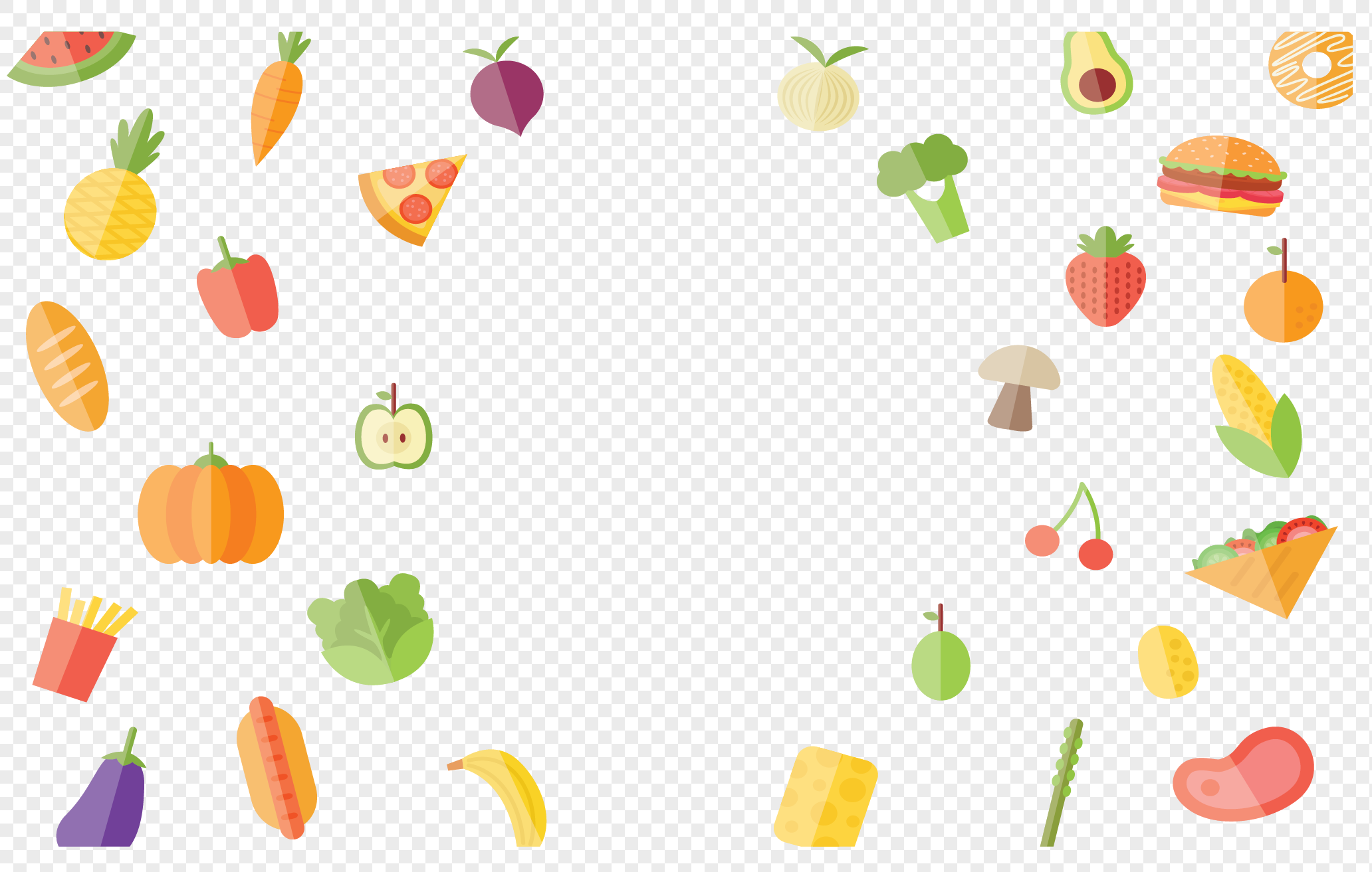 Cartoon Flying Food Pattern Png Imagepicture Free Download