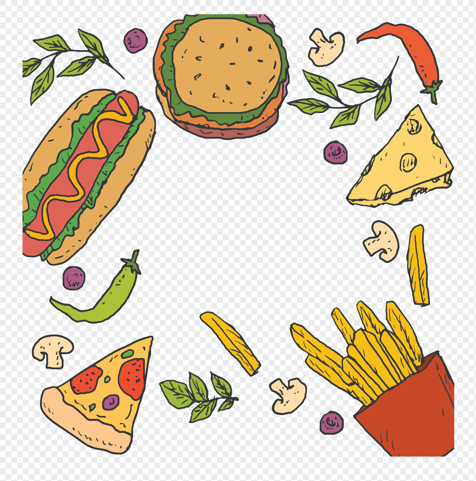 hand painted fast food border png image picture free download