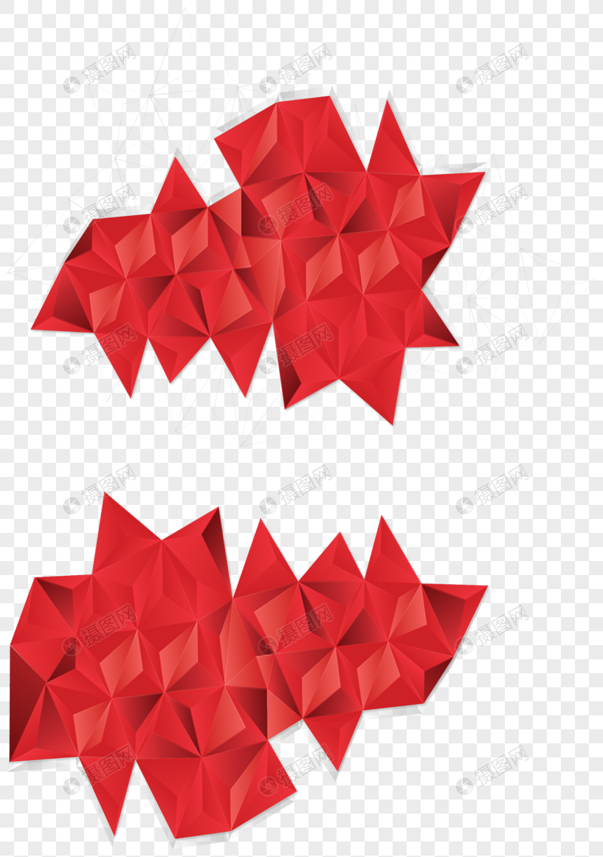 Red geometry low polygon pattern png image_picture free