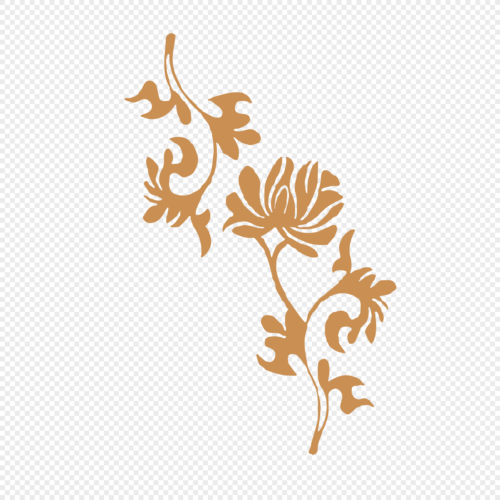 Traditional Gold Flower Pattern Design Vector Material Png