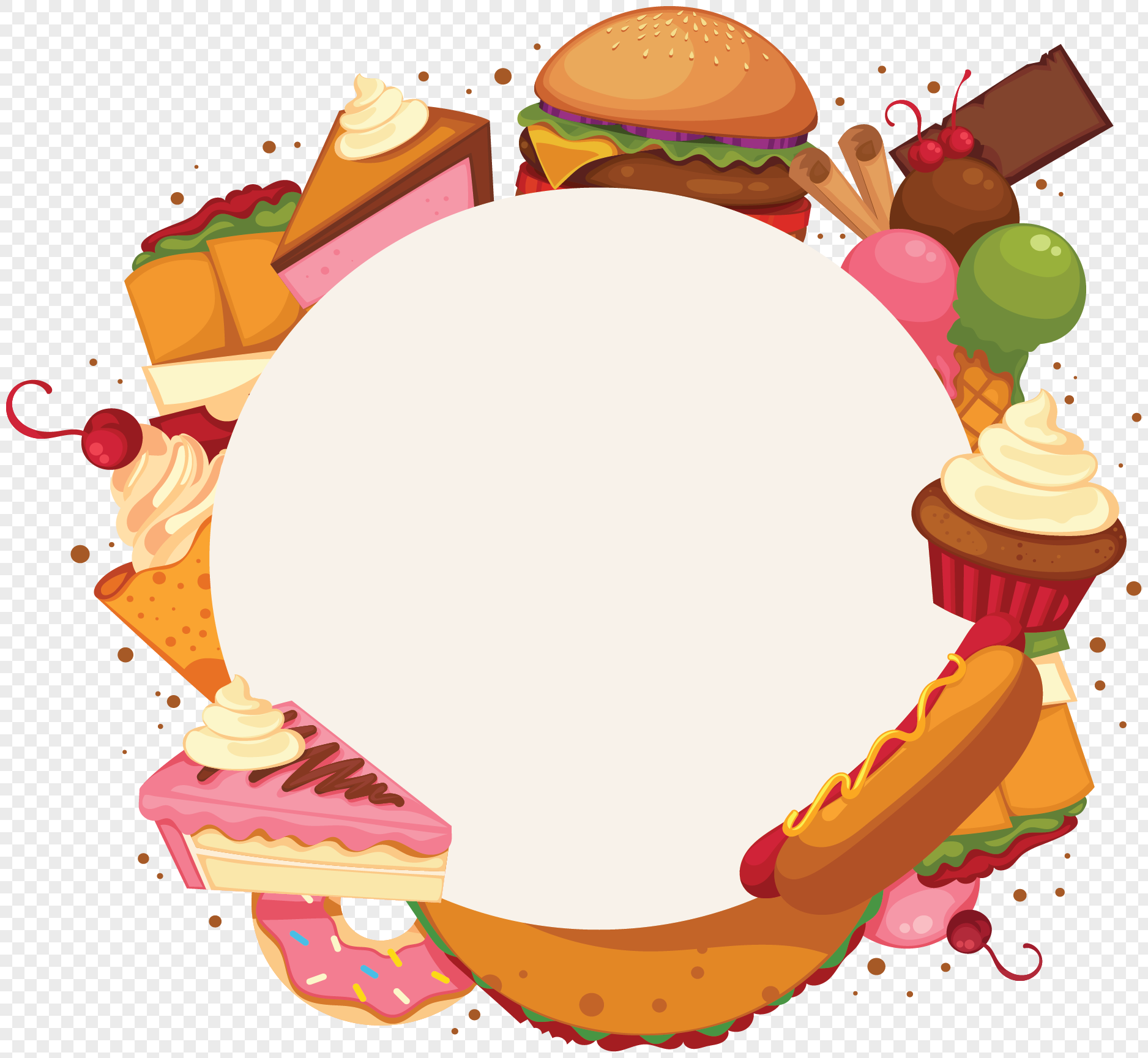 delicious fast food border png image picture free download
