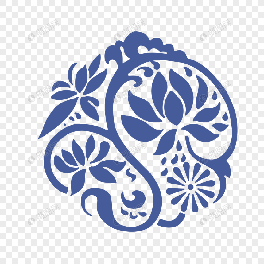 Hand Painted Blue Flower Pattern Design Vector Material Png